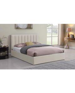 Songe Bett mit Stauraum + Lattenrost, Stoffbezug Beige 180cm