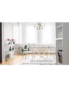 Sonia Set mit 2 Stühlen aus silbernem Metall und mit Kunstlederbezug Weiß
