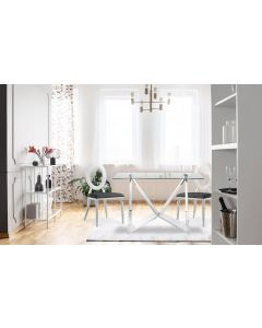 Sonia Set mit 2 Stühlen aus silbernem Metall und mit Kunstlederbezug Schwarz