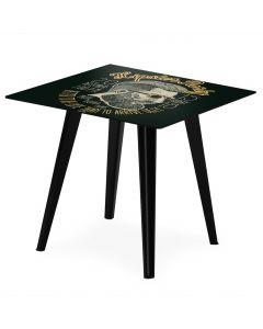 Blickfang Quadratischer, magnetischer Beistelltisch aus schwarzem Metall 40 cm mit 3 Tischsets Fun