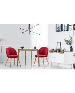 Tartan Set mit 4 skandinavischen Stühlen Samtbezug Rot