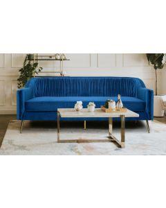 Tela 3-Sitzer Sofa mit goldenen Metallbeinen und Samtbezug Blau