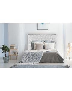Fleuralie Kopfteil Bett 160cm aus Holz Weiß