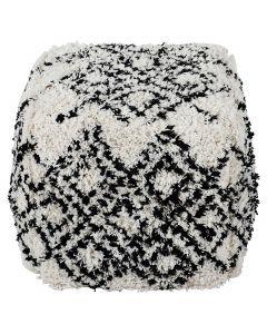 Pouf Tibet Tissu Blanc et Noir