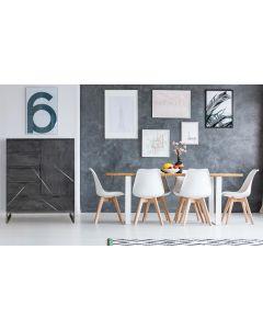 Tina Sideboard mit 5 Schubladen und einer Tür Grau
