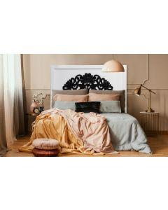 Venezia Kopfteil Bett 140cm aus Holz Weiß & Schwarz