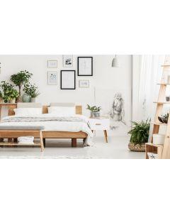Amanda Skandinavischer Nachttisch mit einer Schublade, Helle Eiche & Weiß