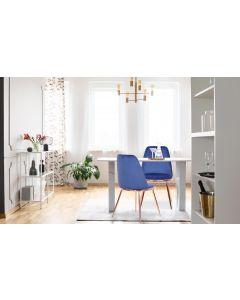 Wallis Set mit 2 Stühlen, Samtbezug Blau