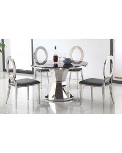 Yvone Runder Tisch aus Glas Schwarz