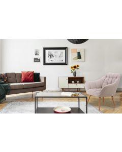 Zentao Skandinavischer Sessel mit Stoffbezug Beige