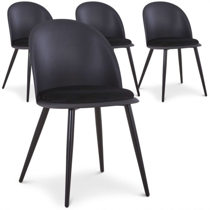 Fuji Set Mit 4 Stuhlen Schwarz